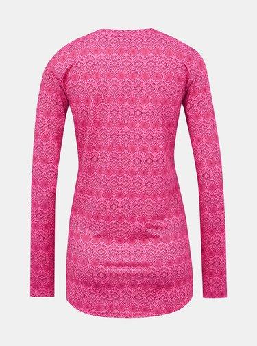Růžové dámské vzorované termo tričko LOAP Parida