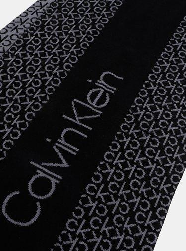 Šedo-černá vzorovaná šála Calvin Klein Jeans