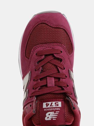 Vínové dámské kožené tenisky New Balance 574