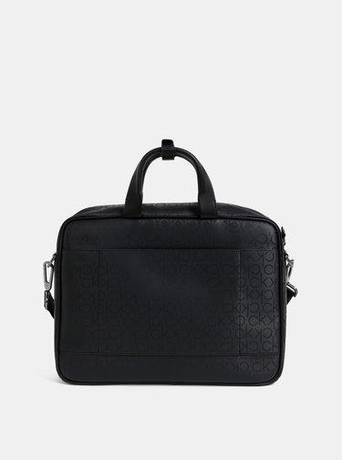 Čierna vzorovaná taška na notebook Calvin Klein Jeans