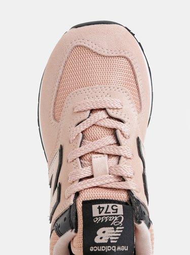 Růžové dámské semišové tenisky New Balance 574