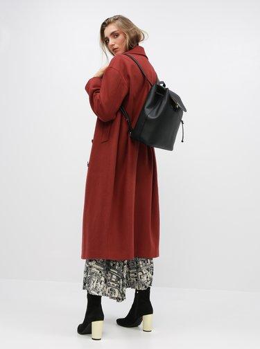 Tehlový kabát s prímesou vlny Selected Femme Jeanne