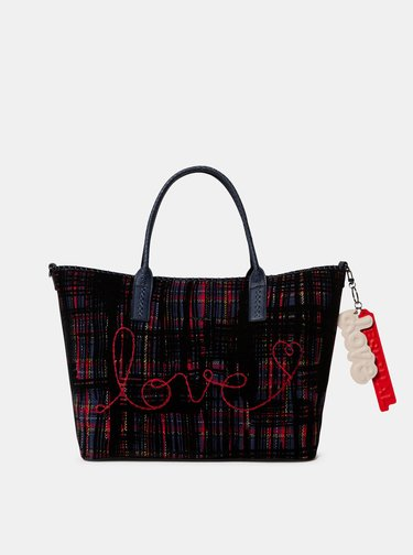 Tmavomodrá vzorovaná kabelka s výšivkou Desigual