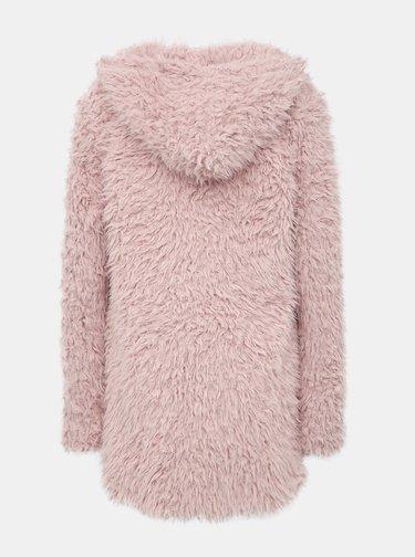 Rúžový dámsky kabát z umelej kožušiny Haily´s Maya