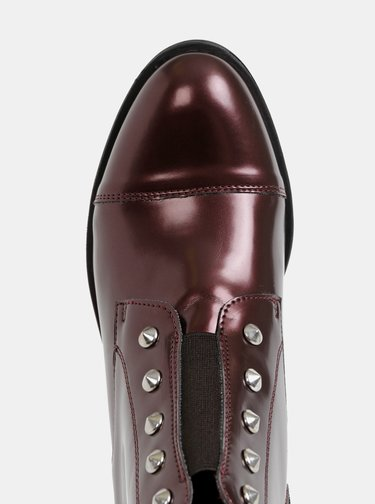 Vínové lesklé kotníkové boty OJJU