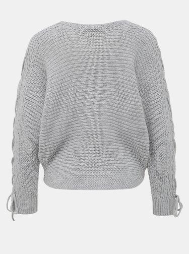 Svetlošedý sveter so šnurováním na rukávoch Miss Selfridge