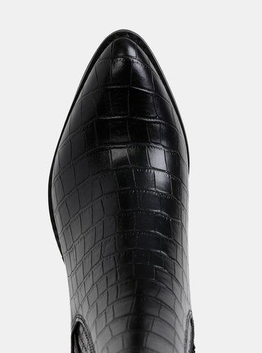 Čierne kotníkové topánky s krokodýlím vzorom VERO MODA Toa
