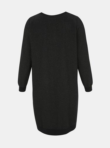 Černé třpytivé mikinové šaty se zipy Zizzi Noelani