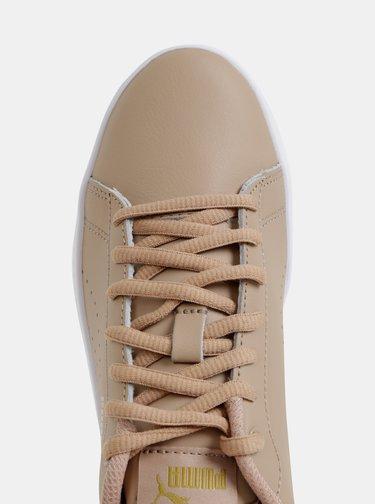 Béžové dámske kožené tenisky Puma Smash