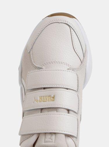 Krémové dámske kožené tenisky so semišovými detailmi Puma Nova Pastel