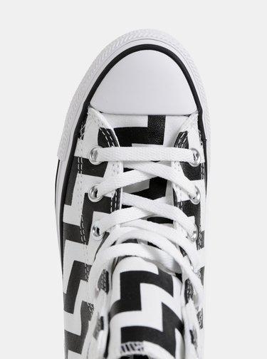 Čierno-biele vzorované kotníkové tenisky Converse All Star