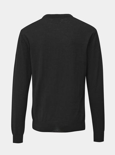 Černý pánský basic svetr z Merino vlny Makia Merino