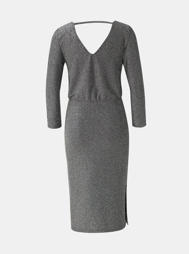 Metalické šaty v striebornej farbe s rozparkami Noisy May Infinity