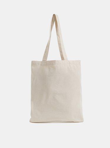 Krémová plátená taška s potlačou Makia Seal