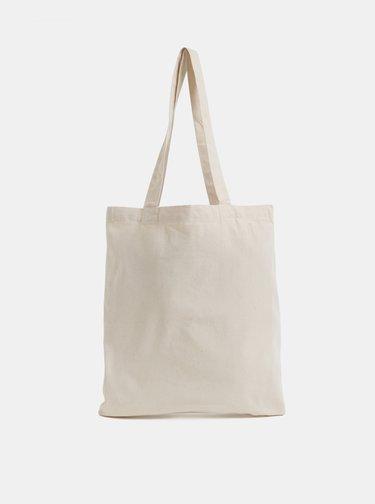Krémová plátená taška s potlačou Makia Range