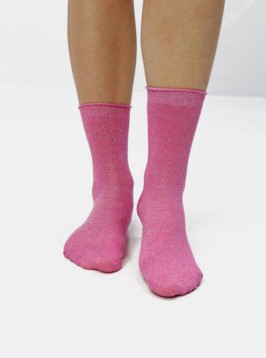 Sada čtyř párů třpytivých ponožek v černé a růžové barvě VERO MODA Glitter