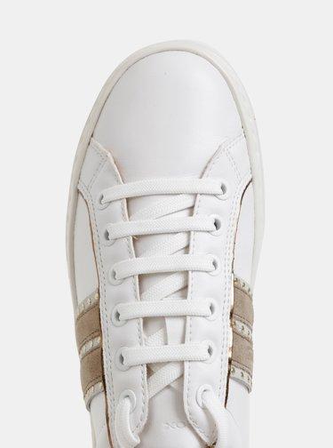 Biele dámske tenisky so semišovými detailmi Geox Leelu