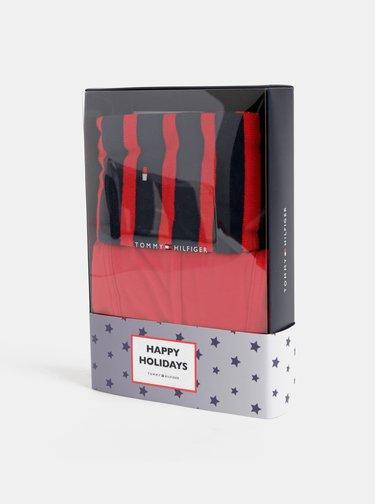 Sada červených boxerek a červených pruhovaných ponožek Tommy Hilfiger