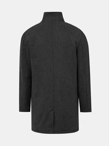 Tmavošedý kabát s prímesou vlny Lindbergh