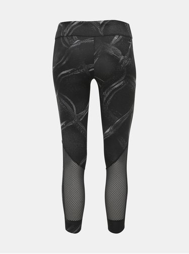 Čierne dámske vzorované skrátené legíny adidas Performance