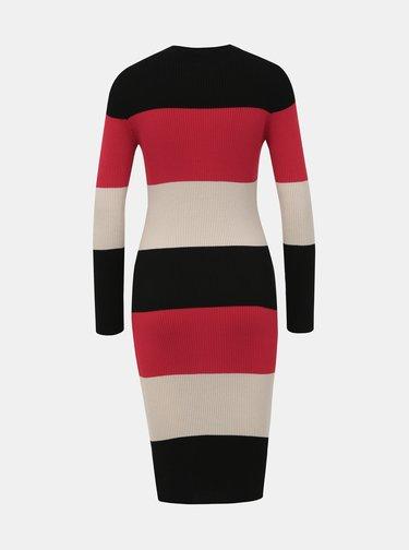 Béžovo-červené pruhované svetrové šaty Dorothy Perkins