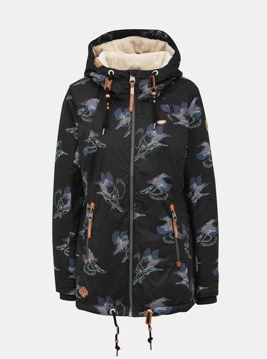 Čierna dámska vzorovaná nepromokavá zimná bunda Ragwear Zuzka