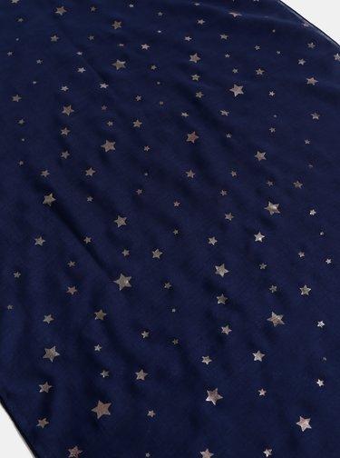 Tmavě modrý vzorovaný  šátek M&Co