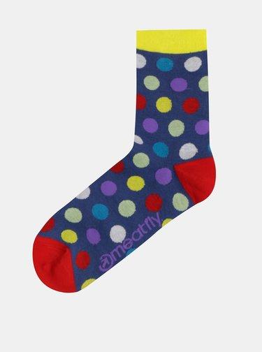 Sada tří párů puntíkovaných ponožek v černé a modré barvě Meatfly Dark