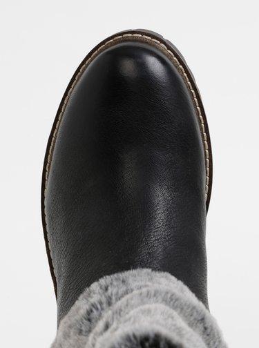 Černé dámské kožené kotníkové boty Wrangler