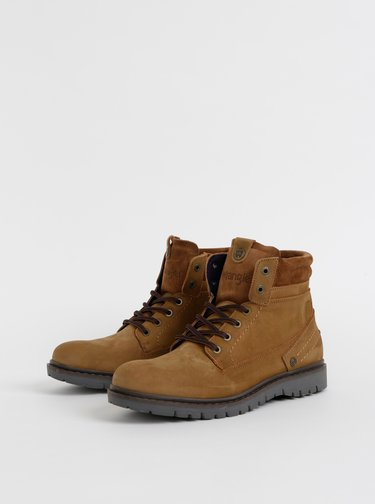 Hnedé pánske kožené kotníkové topánky Wrangler