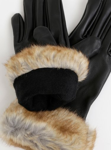 Černé kožené rukavice s umělým kožíškem Pieces Chika