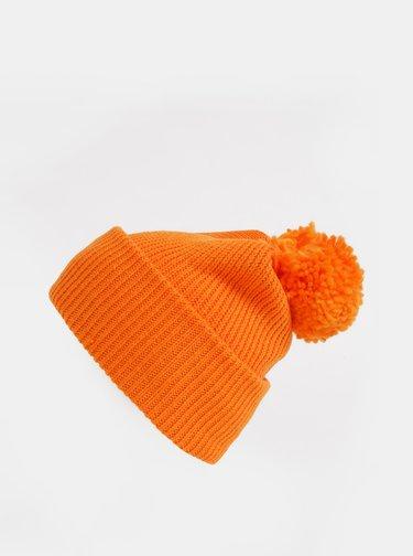 Oranžová čepice s bambulí Pieces Ilma