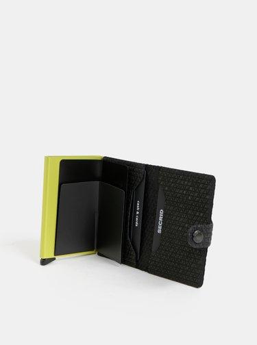 Černá vzorovaná kožená peněženka s hliníkovým pouzdrem Secrid Miniwallet Diamond