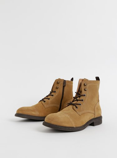 Hnedé semišové zimné členkové topánky Selected Homme Terrel