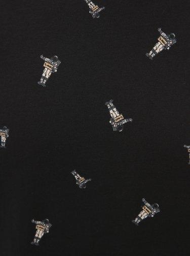 Černé vzorované tričko ONLY & SONS Alex