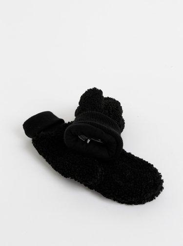 Čierne palčáky z umělej kožušiny ONLY Teddy