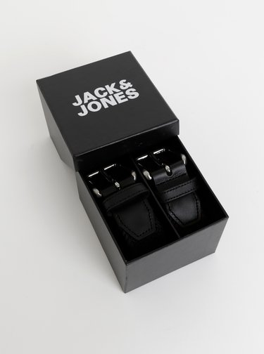 Sada dvou pásků v černé a tmavě modré barvě s koženými detaily Jack & Jones Spring