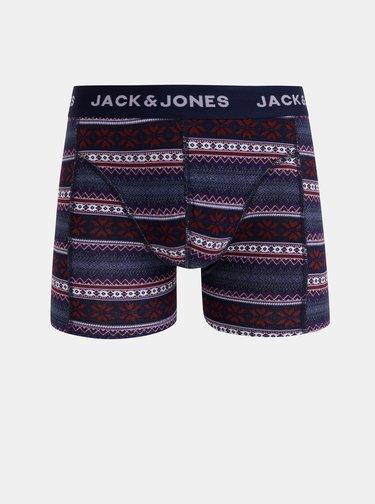 Sada troch vzorovaných boxeriek v tmavomodrej, kaki a čiernej farbe Jack & Jones Shelby