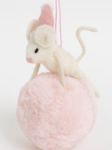 Bílo-růžová závěsná vánoční vlněná dekorace ve tvaru myši s koulí Sass & Belle