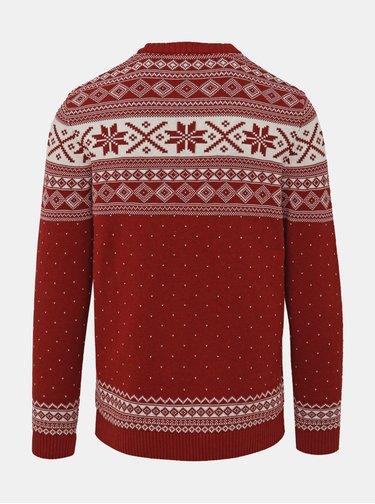Červený vzorovaný sveter Selected Homme New Flake