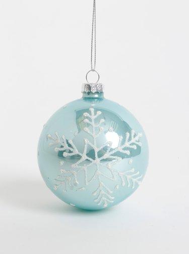 Světle modrá skleněná ozdoba na stromeček Sass & Belle