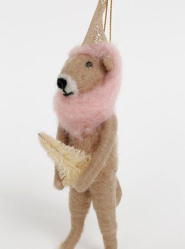 Béžová závěsná vánoční vlněná dekorace ve tvaru lva Sass & Belle