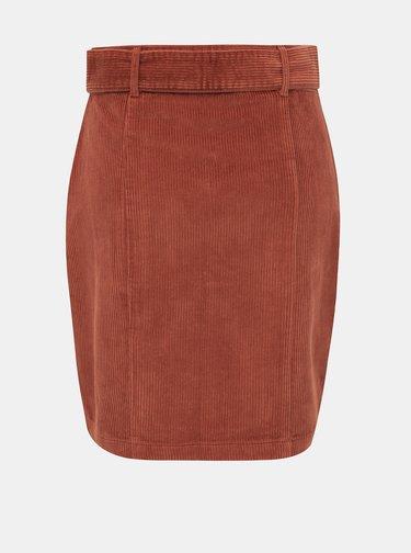Hnědá manšestrová sukně Dorothy Perkins