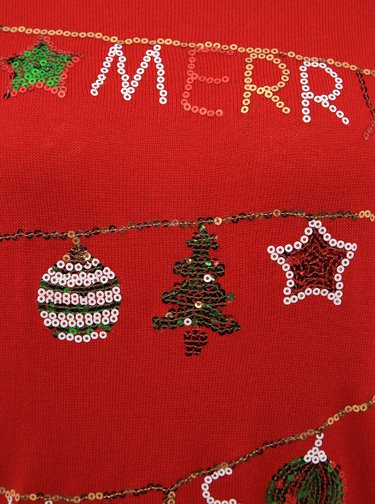 Červený sveter s vianočným motívom VERO MODA Merry