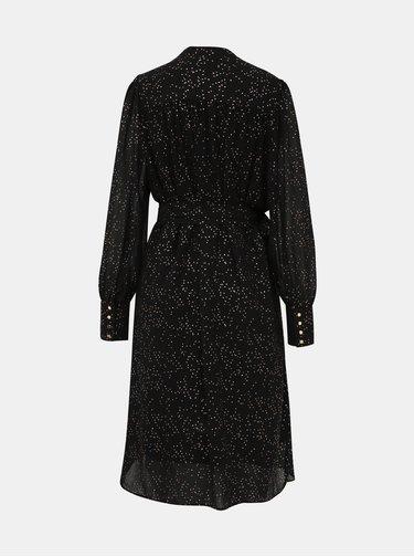 Černé vzorované zavinovací šaty Selected Femme Fanya