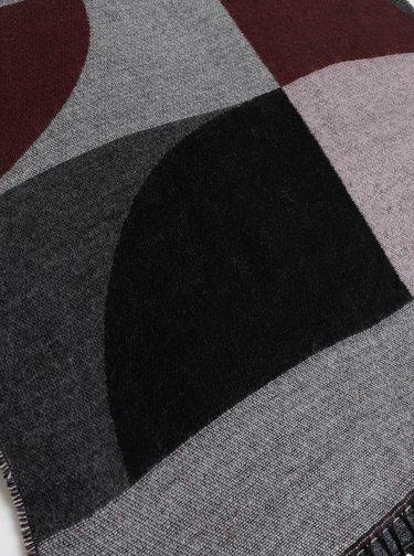 Vínovo-šedý vzorovaný šál Pieces Elina