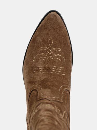 Hnedé semišové čižmy s výšivkou Vagabond Emily