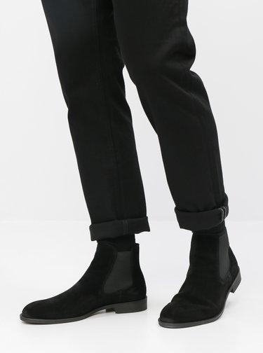 Čierne semišové chelsea topánky Selected Homme Louis
