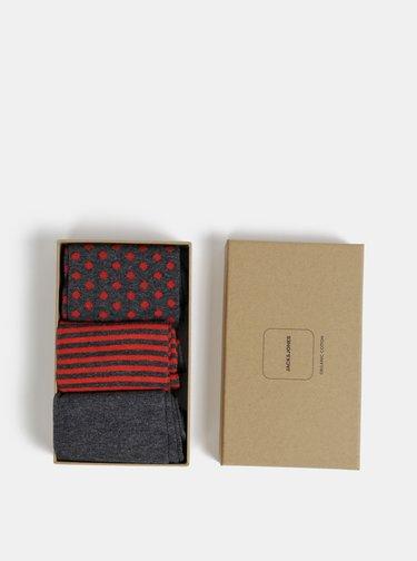 Sada troch párov šedých vzorovaných ponožiek Jack & Jones Organic