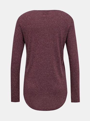 Fialové basic tričko s prímesou ľanu VERO MODA Lua